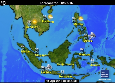 Map of forecasts