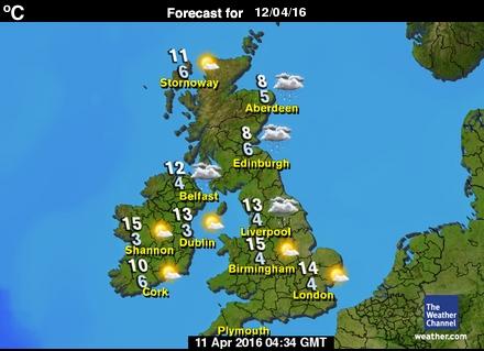 United Kingdom forecast map