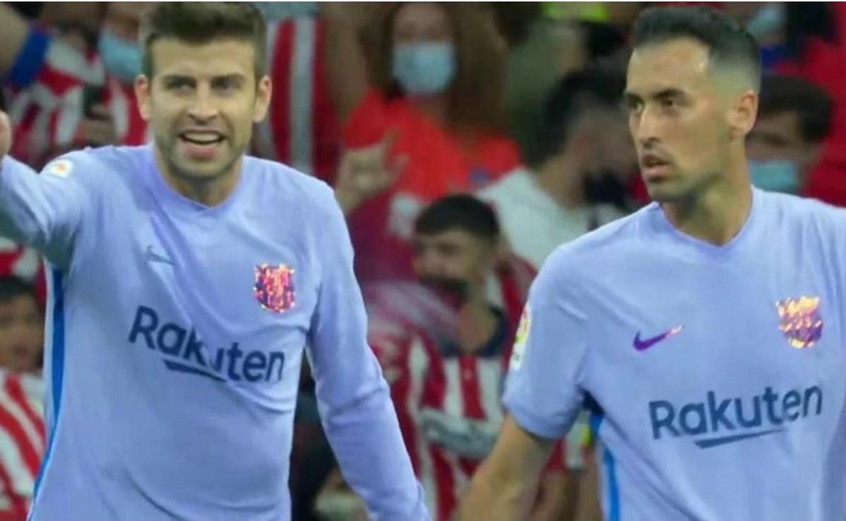 Tensión en Barcelona: discusión entre Piqué y Busquets tras el gol de Atlético de Madrid