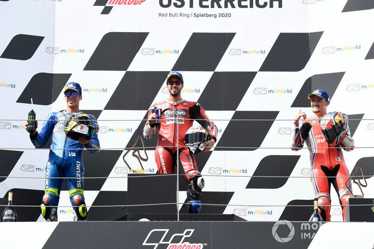 "Podio: 1º Andrea Dovizioso, Ducati Team, 2º Joan Mir, Team Suzuki MotoGP, 3º Jack Miller, Pramac Racing<span class=""copyright"">Gold and Goose / Motorsport Images</span>"