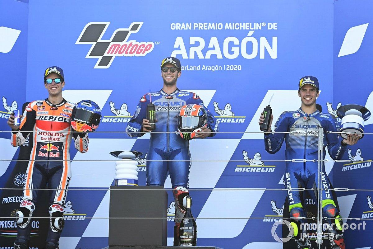 "Podio: 1º Alex Rins, Equipo Suzuki MotoGP, 2º Alex Márquez, Repsol Honda, 3º Joan Mir, Equipo Suzuki MotoGP<span class=""copyright"">Gold and Goose / Motorsport Images</span>"