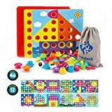 Fansteck Gioco Bottoni per Bambini Tavoletta con Chiodini, Gioco Prima Infanzia Arte Cartoni Puzzle con Bottoni, Giocattolo Educativo con Chiodini, Compleanno per Bambini di 1 2 3+ Anni