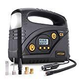 AUTLEAD C5 Compressore Portatile Per Auto, 12V 40L/M, Mini Pompa Elettrica con Manometro Digitale, Spegnimento Automatico, Torcia LED Modalità SOS, 4 Adattatori Ugelli