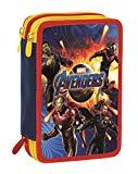Astuccio 3 Zip Marvel Avengers, Rosso e Blu, Con materiale scolastico: 18 pennarelli e 18 pastelli Giotto, penna Tratto Cancellik ...