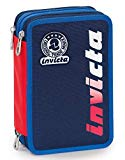 Astuccio 3 Zip Invicta Kupang, Blu, Con materiale scolastico: 18 pennarelli Giotto Turbo Color, 18 matite Giotto Laccato...