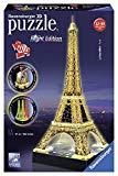 Ravensburger- Tour Torre Eiffel Puzzle 3D con LED, Edizione Speciale Notte, 216 Pezzi, Multicolore, 12579