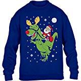 Shirtgeil Ugly Sweater - T-Rex cavalca Babbo Natale Maglione per Bambini e Ragazzi 5-7 Anni S (116/128cm) Blu