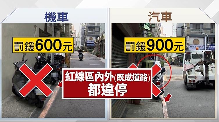 交通部最新規定,只要紅線內都算違停範圍。(圖/東森新聞)