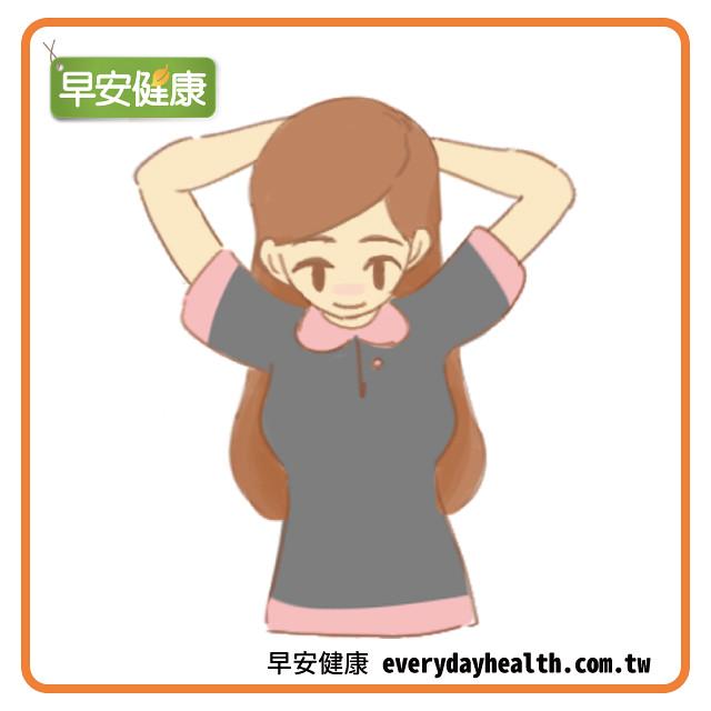 手抱後腦勺向下壓放鬆斜方肌防肩膀痛