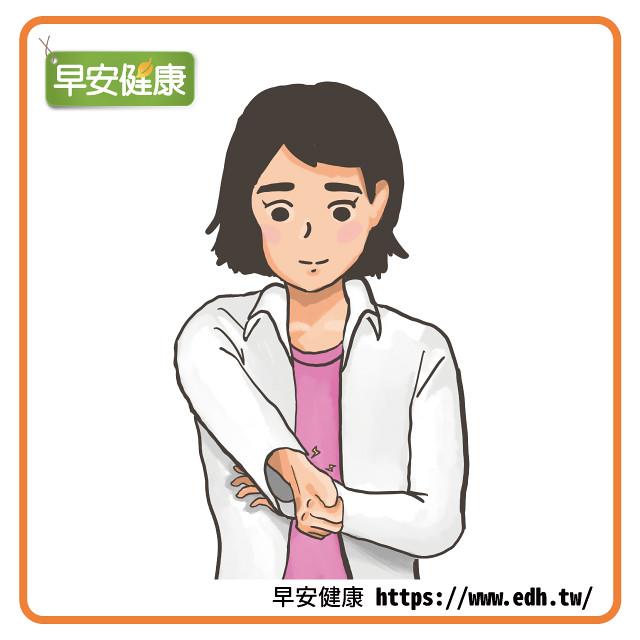大拇指彎曲至手心,其他手指握拳包覆大拇指,維持約10秒進行伸展。