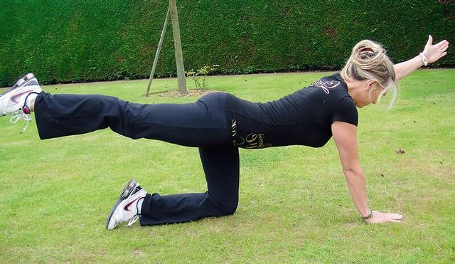 一側腿跪地,對側的手撐地,吸氣並緩緩抬起另一手及其對側的腿,使軀幹與下肢連成一直線。