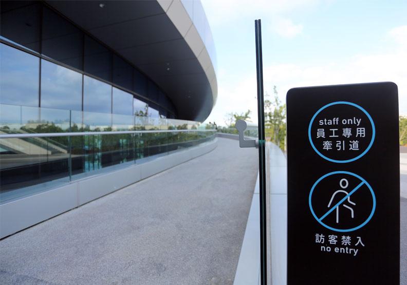 巨大集團全球營運總部附有自行車牽引坡道。張智傑攝