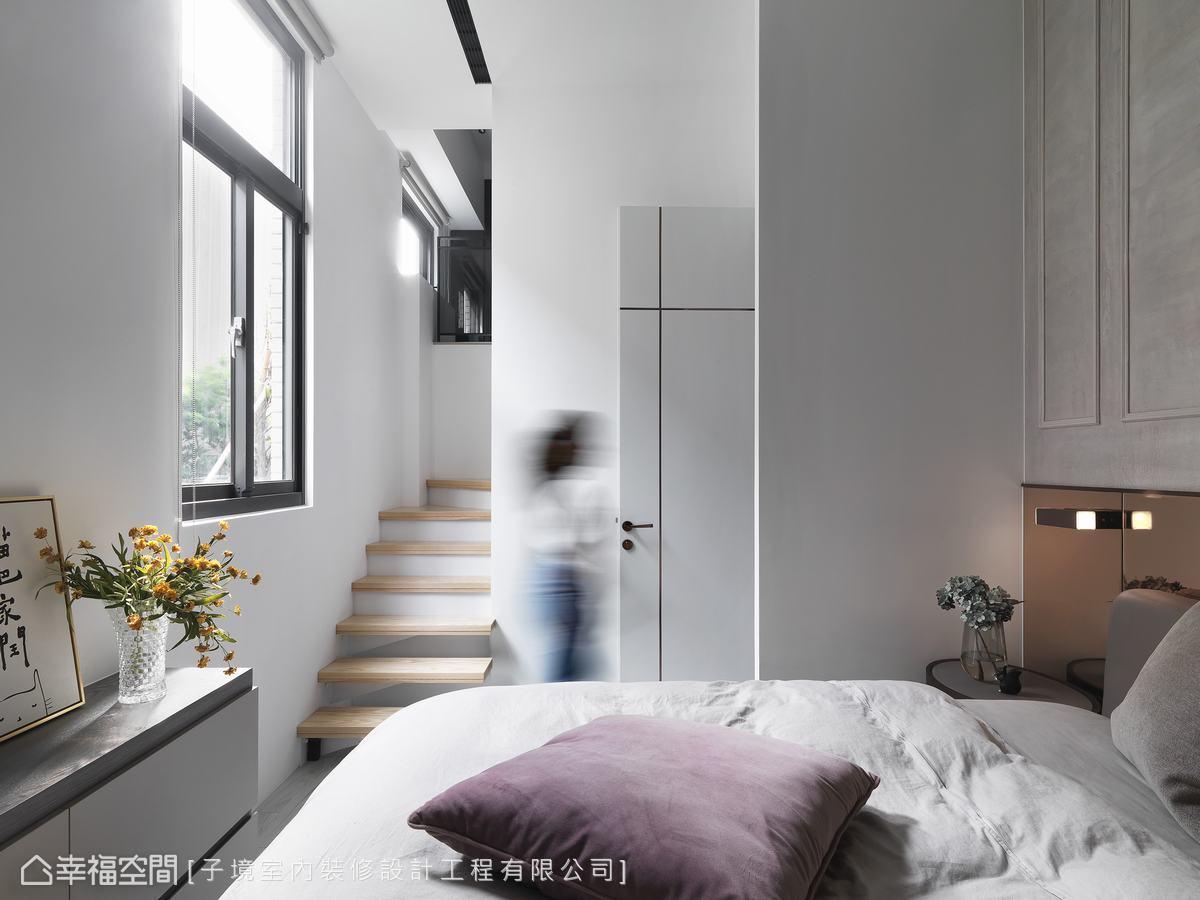 以白色為主視覺並引景入室,描摹清新無壓構圖,消弭小坪數的狹窄擁塞感。