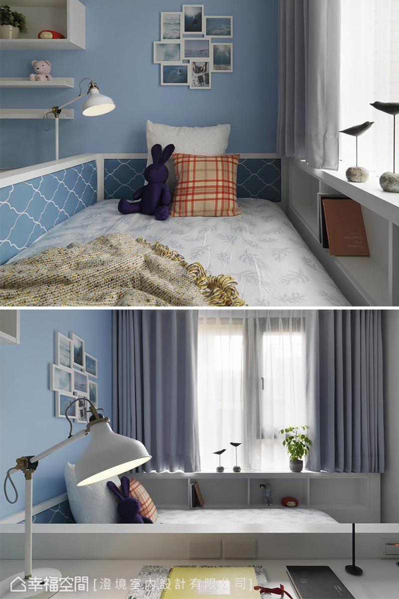 白色及藍色渲染出小孩房輕鬆舒適的氛圍,床舖以三面包覆設計為孩子帶來安全感。