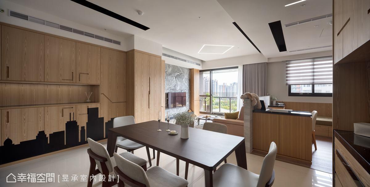 俐落中又見溫馨,昱承室內設計將多材質的美發揮得淋漓盡致,為屋主譜出一現代品味新樂章。
