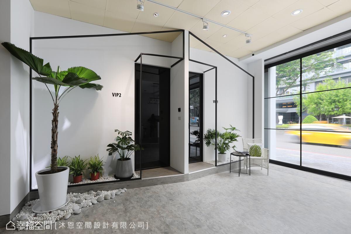 以小屋概念為發想,採以鐵件拉出立體輪廓線,在白色基調上建構出純粹又具有童趣的形象。