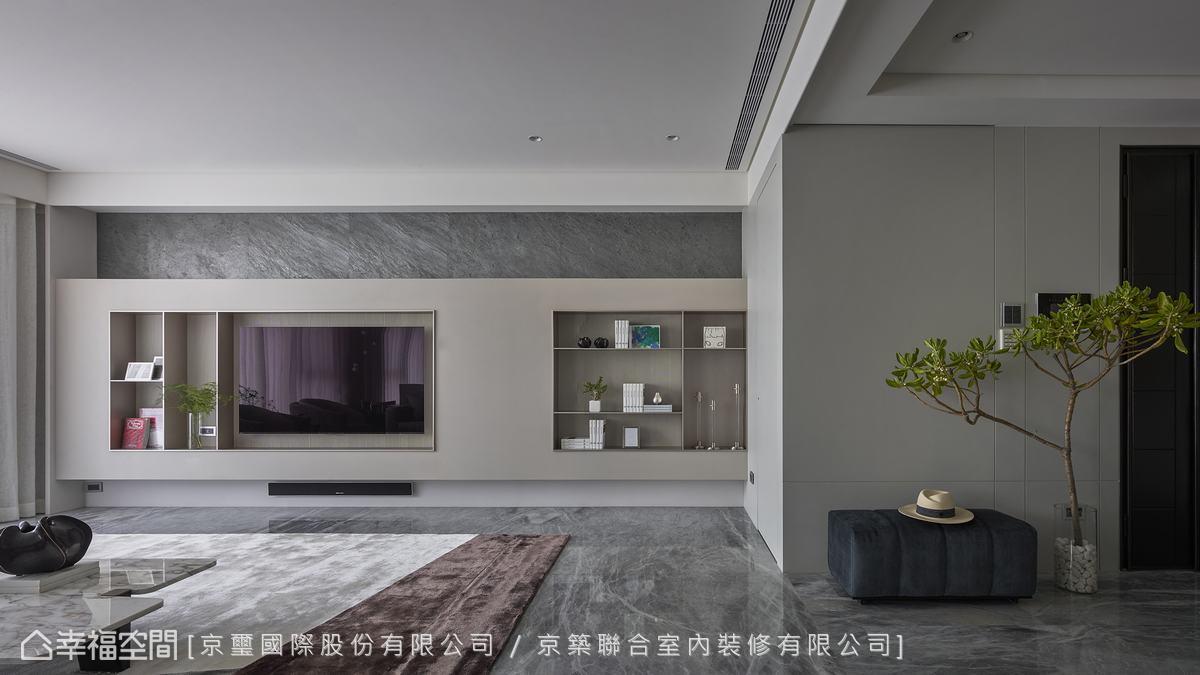 石材、金屬等材質的紋路及特性完美結合,締造優雅和諧構圖。