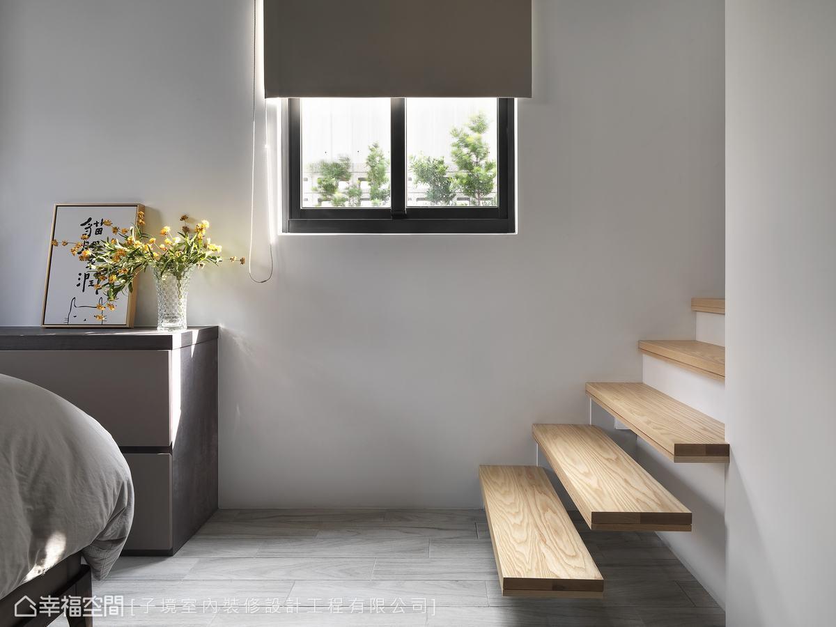 臥房採用溫和的木質元素作為地坪,優化使用者的踩踏體驗,挹注和煦暖意。
