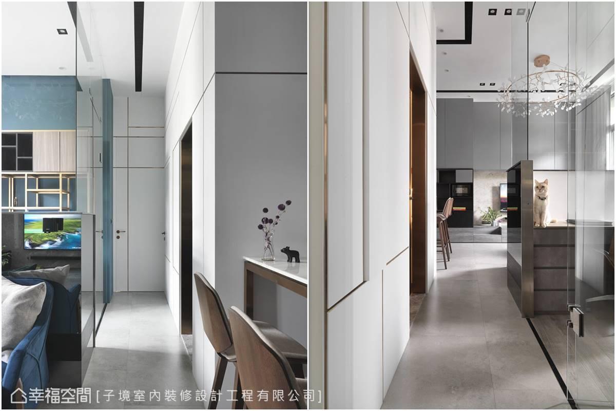 利用具穿透性的玻璃材質區隔空間,降低視覺阻礙,創造通透無壓力的舒坦感受。