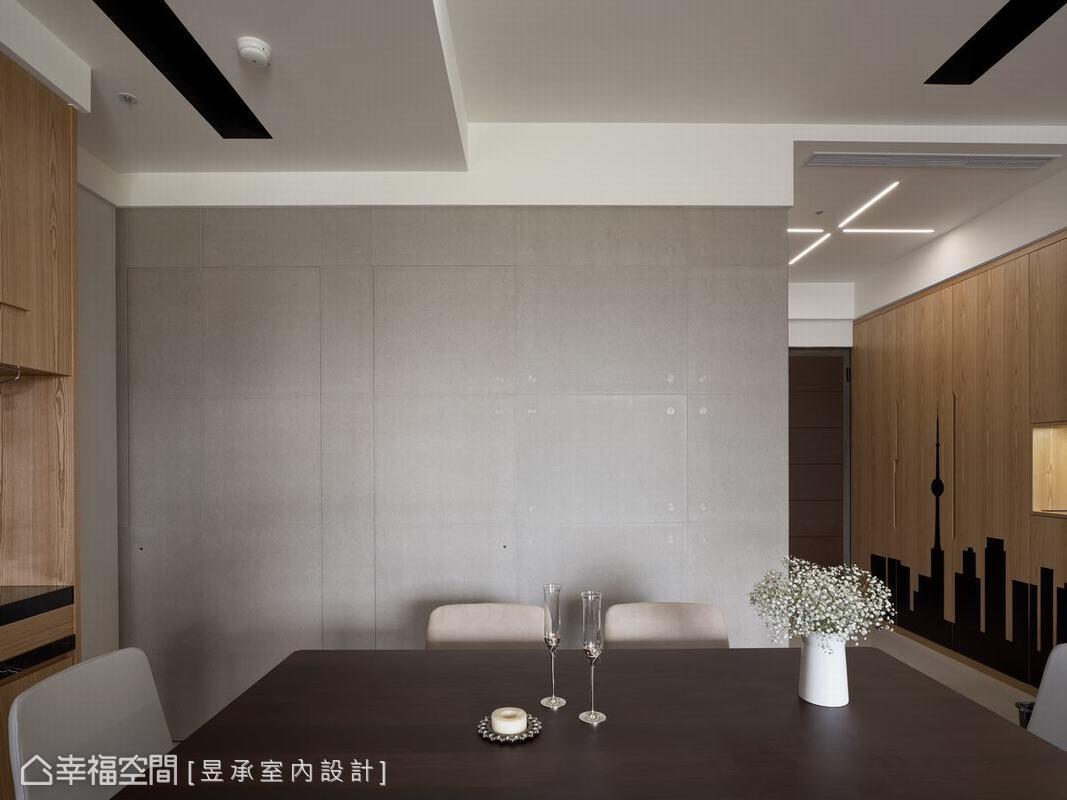 藉由清水模牆面的鋪述,簡單陳述將機能隱於無形的隱藏門,輕鬆感受生活的美感。