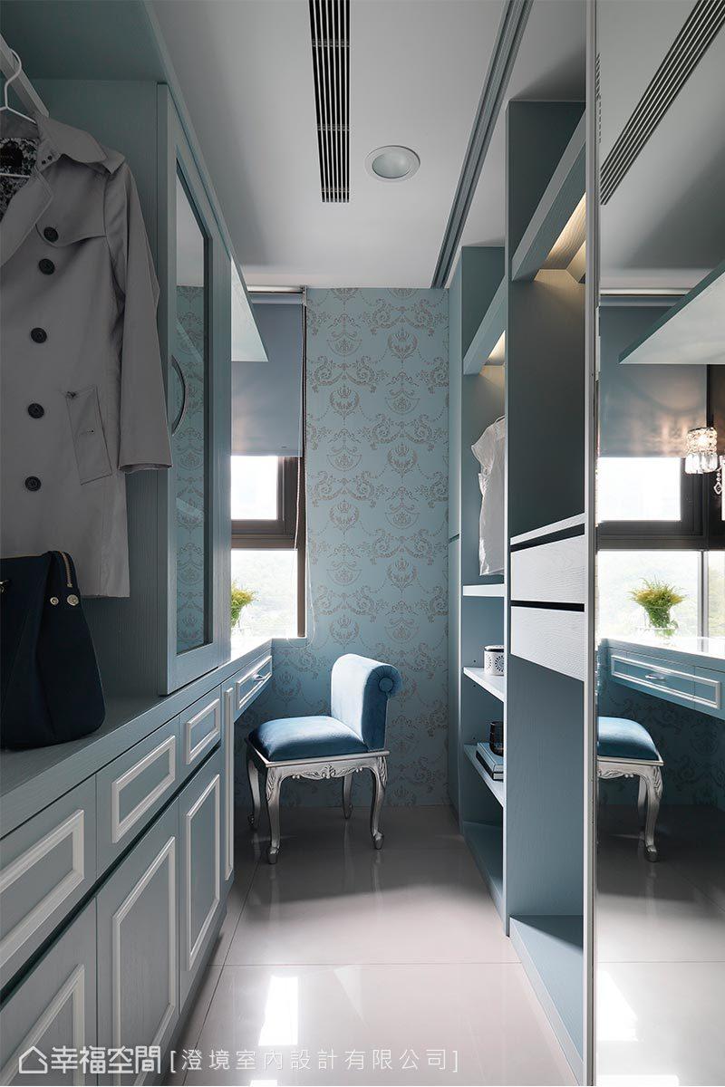 以蒂芬妮藍的美式線板及古典圖騰壁紙,營造出柔和又浪漫的美式氛圍。