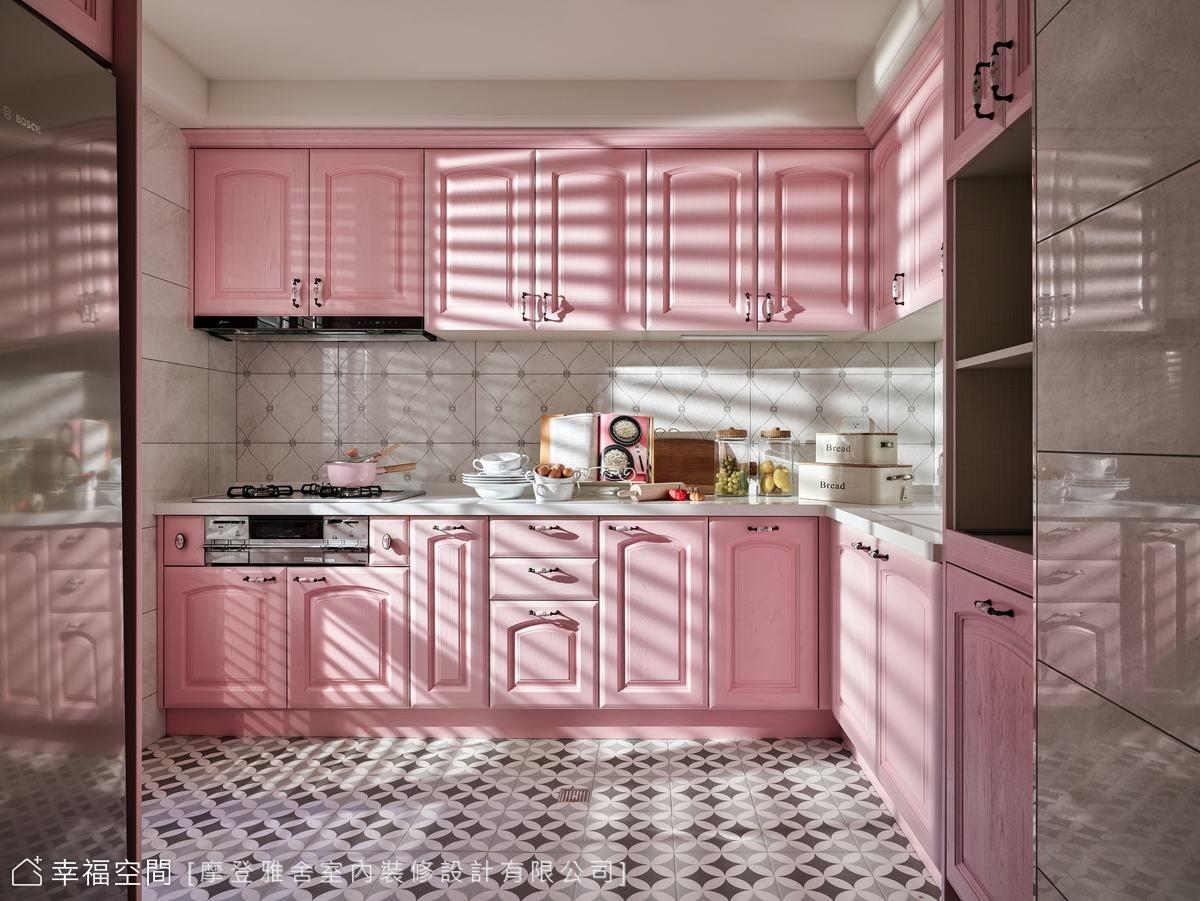 採用春意盎然的粉紅色作為主色,讓少女心的媽媽每次下廚都有好心情。