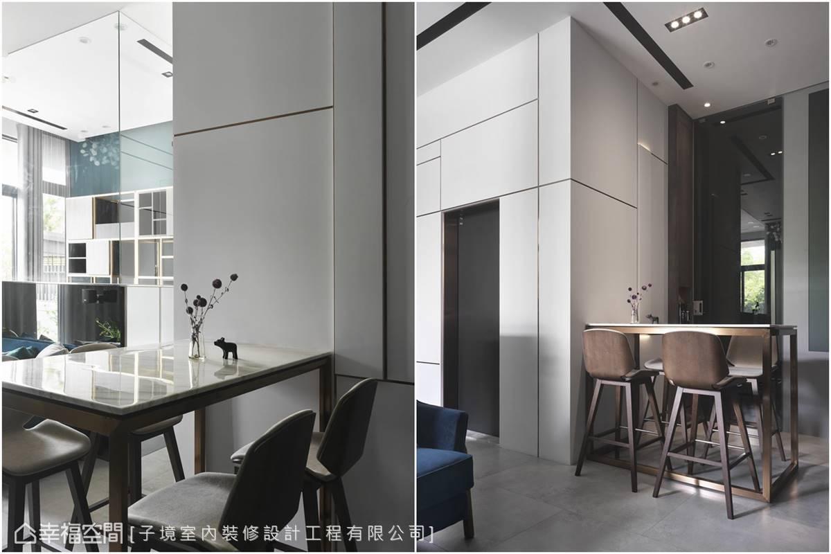 由玄關綿延至內部牆面的不規則分割,創造錯落有致的豐富構圖,營造型格率性的隨興感。