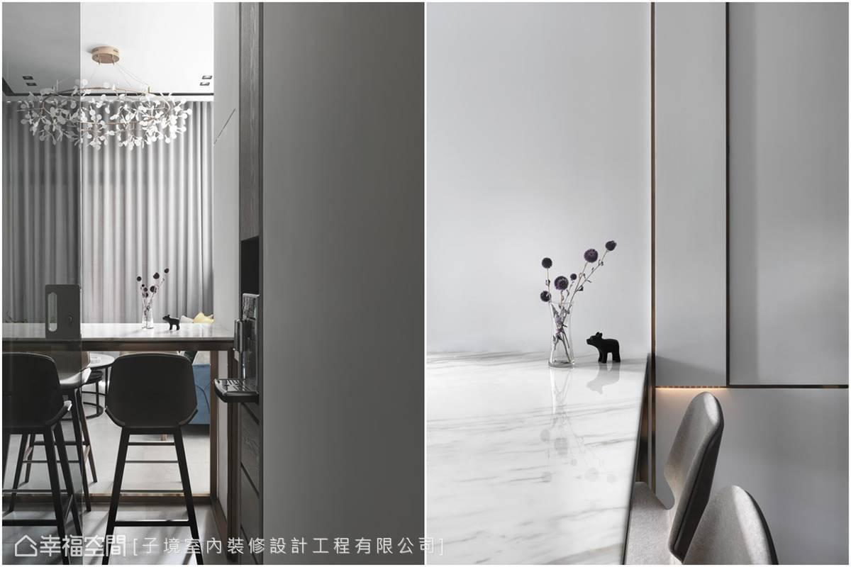 鍍鈦金屬的分割線條,散發微乎其微卻難以忽視的淡雅光澤,細膩勾勒出精彩的壁面層次。