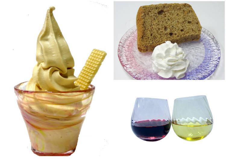 店內有供應左:北一特製奶茶冰淇淋、右上:和北一特製奶茶一樣的紅茶搭配紅茶戚風蛋糕的套餐(720日圓)、右下:茨威格葡萄酒(紅·600日圓)、尼亞加拉葡萄酒(白·500日圓)等小樽葡萄酒也有供應喔!