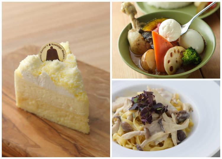 左:只有在北海道才品嚐得到,現做的「生鮮雙層乳酪蛋糕」有放上一層由甜點師傅手工特製的鮮奶油。右上:湯咖哩(新鮮嫩雞)。右下:松阪豬(豬頸肉)義大利寬麵。