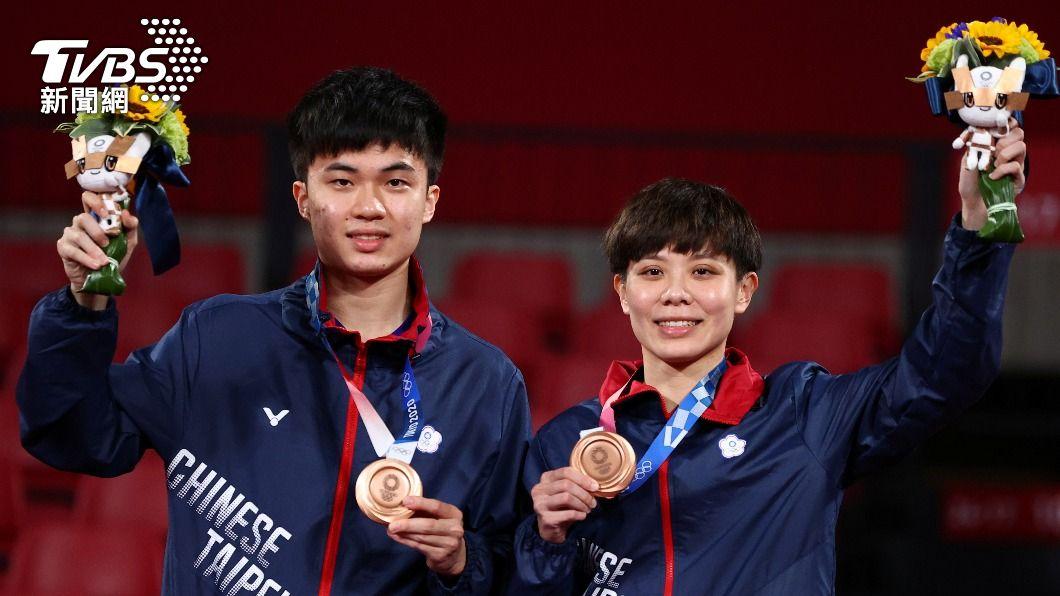 林昀儒、鄭怡靜拿下桌球混雙銅牌,各有500萬國光獎金。(圖片來源/ 達志影像路透社)