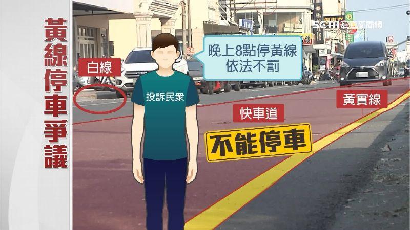王先生停的黃線為分隔島的黃實線,車輛應不得停在快車道上。
