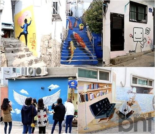 Spring meets beautiful drawings mural village trips for Mural village seoul