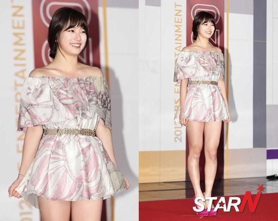 SBS演藝大獎 秀智「下衣失蹤」禮服帶來一抹春風