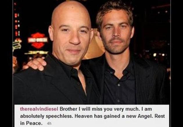 Vin Diesel posta foto com Paul Walker e lamenta morte