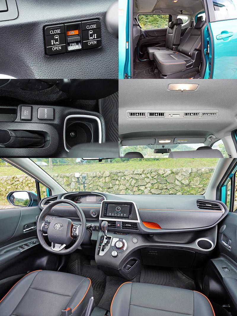 Sienta配備上最大特色就是採側滑門設計,高規車型還配有電動滑門,在窄巷與停車場等狹小空間便利性較佳,置頂式的出風口則是MPV車型的另一個特色。