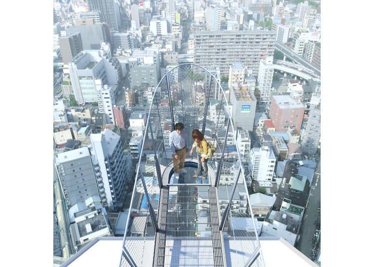 伸出半空中的展望台「TIP THE TSUTENKAKU」