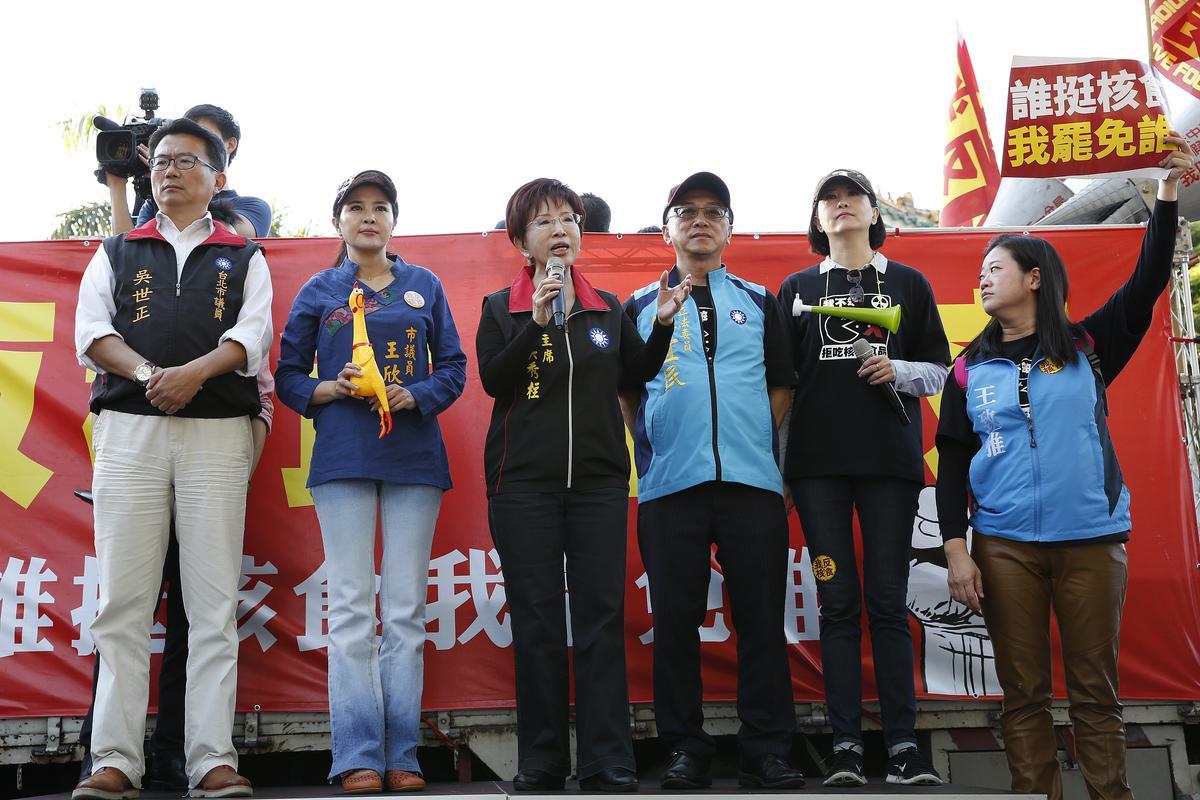 反核食大遊行由主席洪秀柱領軍,其他幾位副主席和黨籍立委卻都沒有參加。