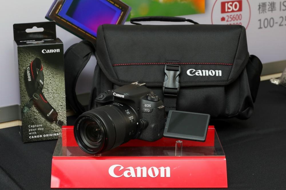 即日起至0531止,購買EOS 77D單機身鏡組,即送Canon原廠Redline專業攝影包與Canon減壓背帶