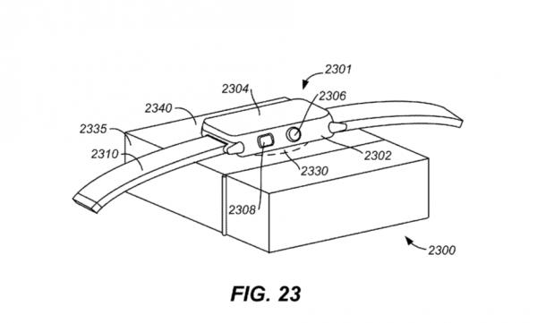 ▲ 蘋果專利中的示意圖:可以把 Apple Watch 擺到充電盒上無線充電。(Source:USPTO)