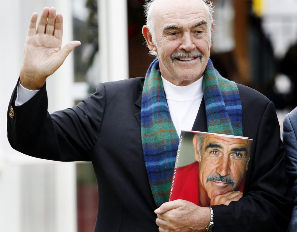 Sean Connery with his book Being A Scot