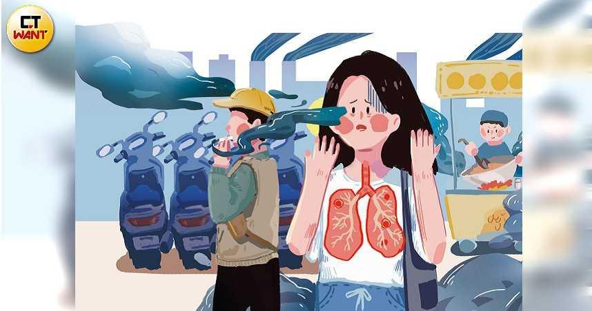 女性罹患肺癌有年輕化趨勢,空氣汙染、家族遺傳、內分泌等都是元兇。(圖/陳家榆繪)