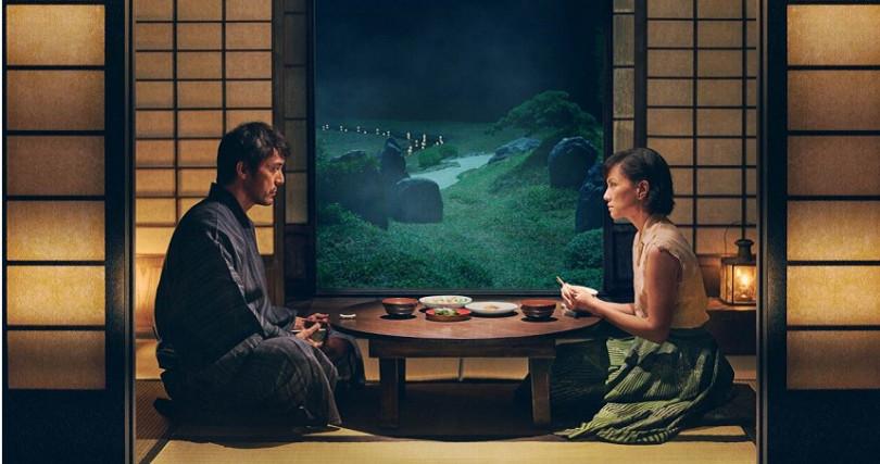 李心潔和阿部寬在《夕霧花園》中大談虐心戀愛。(翻攝/金馬影展)
