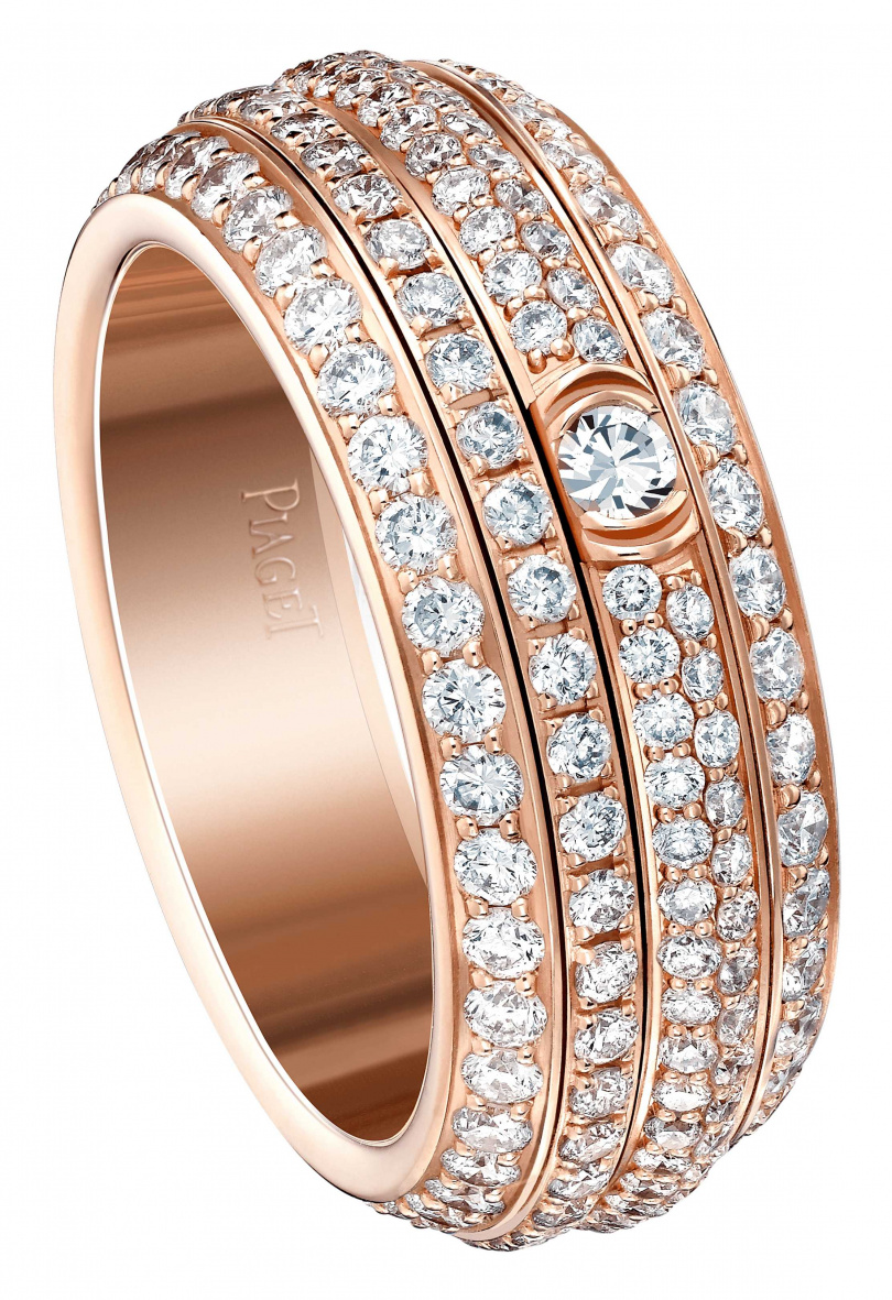 PIAGET「Possession」系列18K玫瑰金鑽石戒指╱550,000元。(圖╱PIAGET提供)