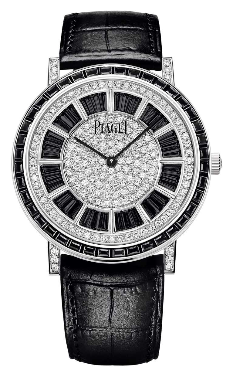 PIAGET「Altiplano」系列黑鑽時標頂級珠寶自動腕錶╱7,550,000元。(圖╱PIAGET提供)