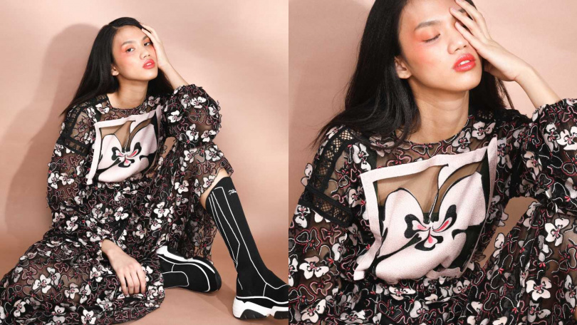 LONGCHAMP Long Dress 洋裝/約107,325元、Sneakers 運動鞋/約18,645元(圖/戴世平 攝)