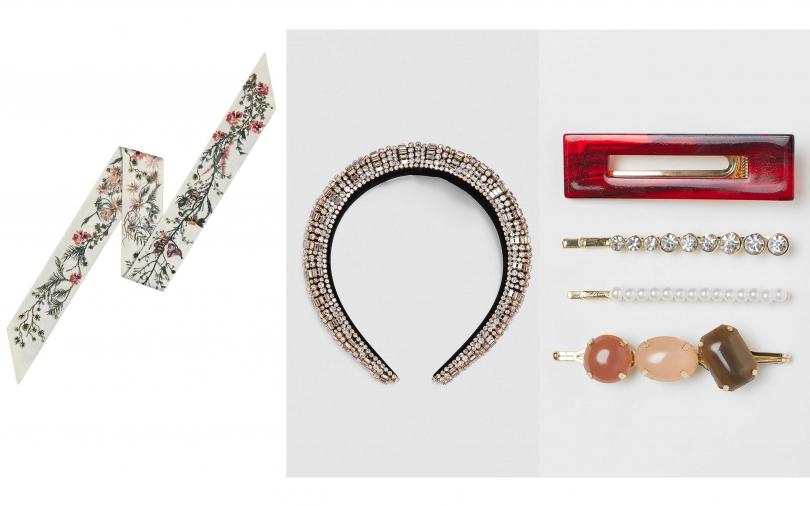 推薦的髮飾是這些!Dior Mitzah Dior Jardin白色漸層斜紋絲巾/8,000元、ZARA加厚設計水鑽髮箍/890元、H&M 4-pack hair clips/349元(圖/品牌提供)