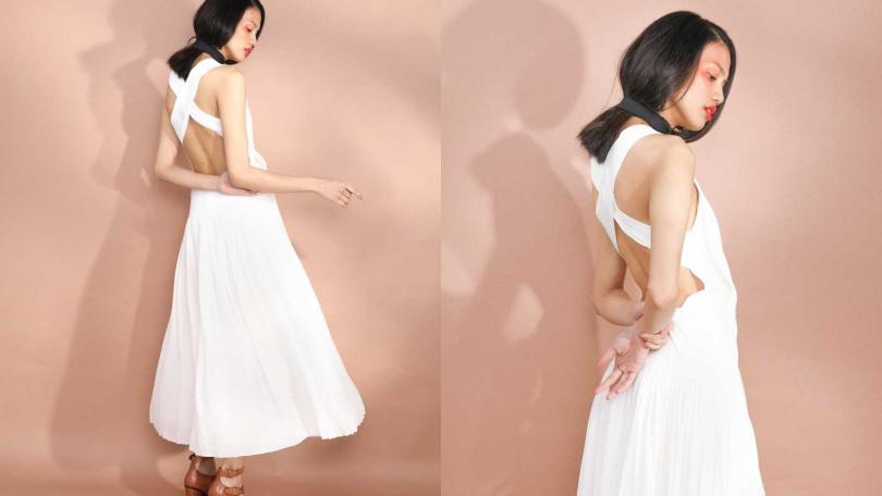 Chloé Sleeveless Dress 洋裝/價格未定、Choker 頸鍊/價格未定、Platform Sandal 跟鞋/價格未定(圖/戴世平 攝)