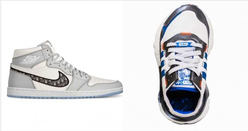 Jordan x Dior聯名系列Air Jordan 1 High OG Dior鞋款 /2,000美元;adidas X Star Wars adidas Originals NIET JOGGER FV8040鞋款 / 5,090元(圖/品牌提供)