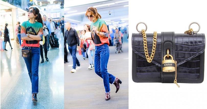 衣服很簡單沒關係,配件選高級的Chloe鱷魚皮壓紋款式迷你鎖頭包就對了XD。(圖/翻攝Ella IG、品牌提供)